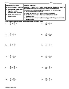 Multiplying and Dividing Fractions Practice Worksheet