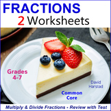 Multiplying and Dividing Fractions - Review and Test Worksheets