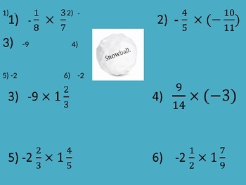 Multiplying and Dividing Fractions - Snow Ball Game