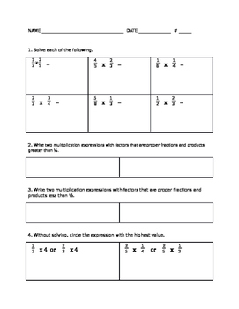 Multiplying and Dividing Fractions Summative with Key