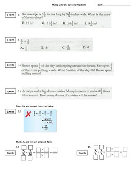 Multiplying and Dividing Fractions Test