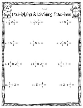 Multiplying and Dividing Fractions Test/Worksheet by ...