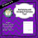 Multiplying and Dividing Fractions Test with Answer Key