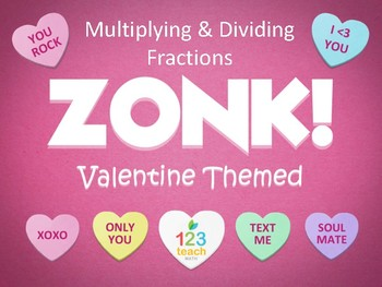 Multiplying and Dividing Fractions Valentine's Day ZONK! Powerpoint Review Game