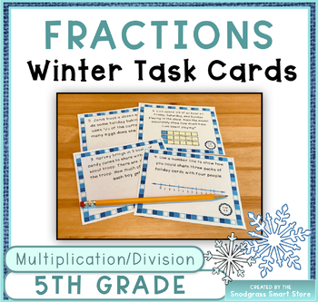 Fractions Word Problems: Winter Theme (Multiplying and Dividing Fractions)