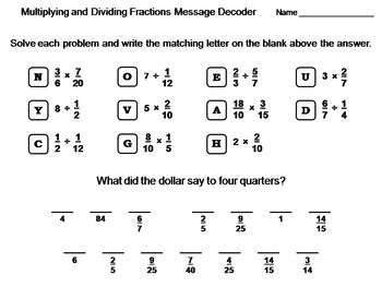 Multiplying and Dividing Fractions Worksheet: Math Message Decoder