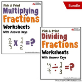 Multiplying and Dividing Fractions Worksheets with Answer Keys