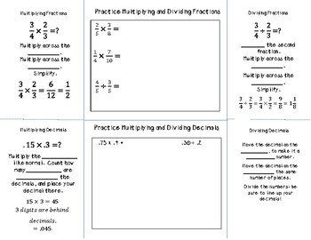 Multiplying and Dividing Fractions and Decimals Foldable for INB