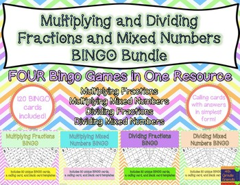 Multiplying and Dividing Fractions and Mixed Numbers BINGO Bundle