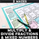 Multiplying and Dividing Fractions and Mixed Numbers Math Maze Activities