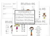 Multiplying and Dividing Fractions and Mixed Numbers Review Station