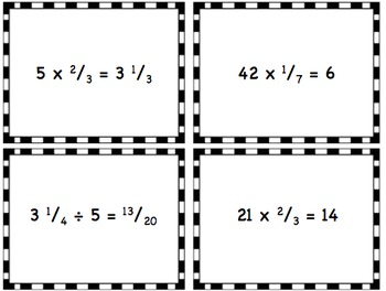 Multiplying and Dividing Fractions and Mixed Numbers Word Problem Task Cards
