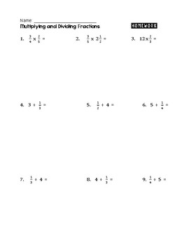 multiplying and dividing fractions and mixed numbers worksheets  tpt multiplying and dividing fractions and mixed numbers worksheets