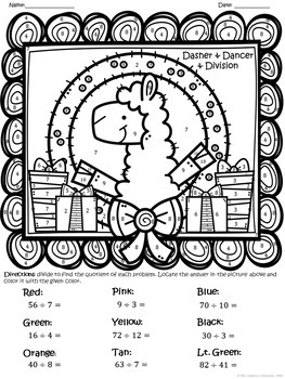 Multiplying and Dividing Holiday/Christmas Llama Themed Color Sheets