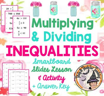 Multiplying and Dividing Inequalities Math on the Move Activity Smartboard