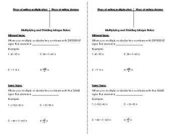 Multiplying and Dividing Integer Notes for Interactive Notebooks