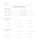 Multiplying and Dividing Integers