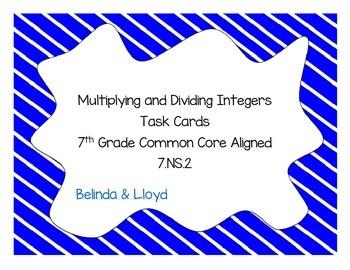 Multiplying and Dividing Integers 7th Grade Common Core Al