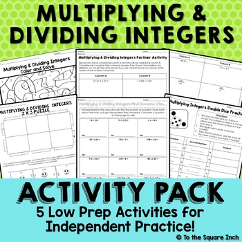 Multiplying and Dividing Integers Activities