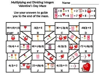 Multiplying and Dividing Integers Activity: Valentine's Day Math Maze