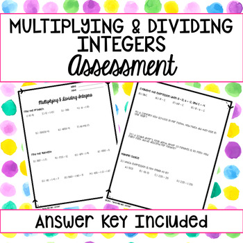 Multiplying and Dividing Integers Assessment
