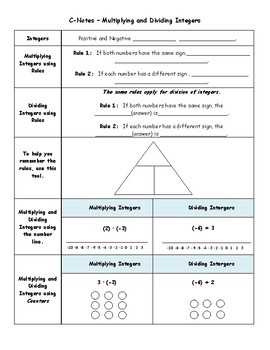 Multiplying and Dividing Integers C-Notes