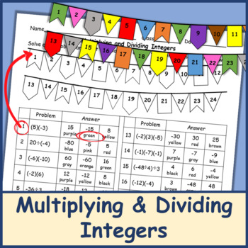 Multiply And Divide Integers Coloring Worksheets & Teaching