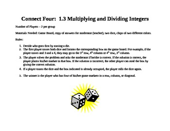 Multiplying and Dividing Integers Connect Four