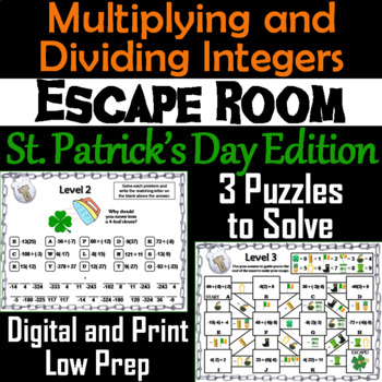 Multiplying and Dividing Integers Escape Room St. Patrick's Day  Math Activity