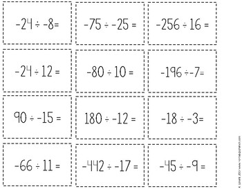 Multiplying and Dividing Integers Game