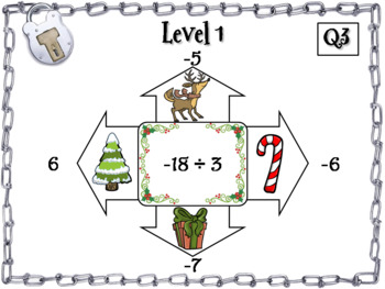 Multiplying and Dividing Integers Game: Escape Room Christmas Math Activity