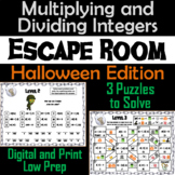 Multiplying and Dividing Integers Game: Escape Room Halloween Math Activity