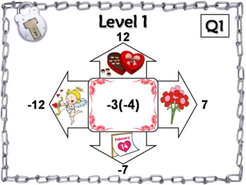 Multiplying and Dividing Integers Game: Escape Room Valentines Day Math Activity