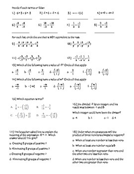 Multiplying and Dividing Integers~ Guided Notes and Exploration