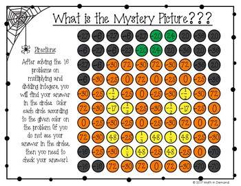 Multiplying and Dividing Integers Halloween Coloring Worksheet