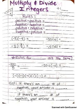 Multiplying and Dividing Integers Journal Notes PDF