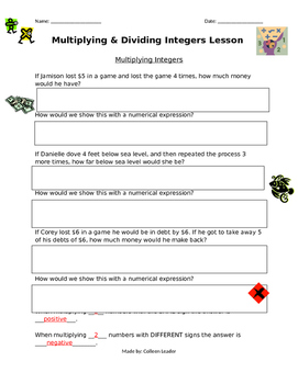 Multiplying and Dividing Integers Lesson