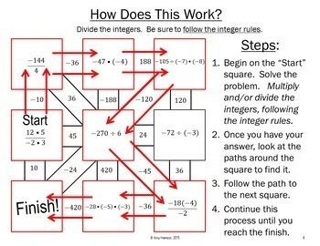 Multiplying and Dividing Integers Maze + Bonus Mini Maze