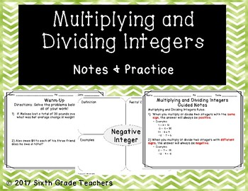 Multiplying and Dividing Integers Notes and Practice Resources