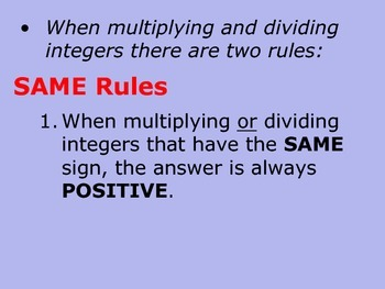 Multiplying and Dividing Integers Powerpoint