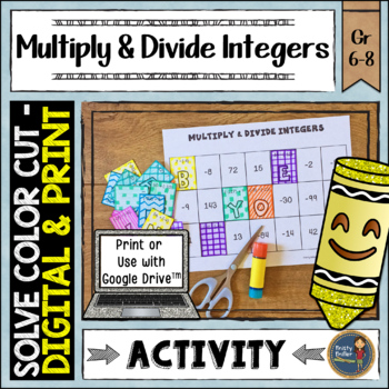 Multiplying and Dividing Integers Solve, Color, Cut