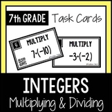 Multiplying and Dividing Integers TASK CARDS with QR Codes 7th Grade