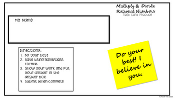 Multiplying and Dividing Integers Task Cards