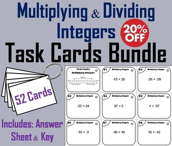 Multiplying and Dividing Integers Task Cards Bundle 5th 6th 7th 8th Grade