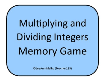 Multiplying and Dividing Integers Memory Game