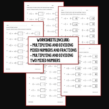 Multiplying and Dividing Mixed Numbers Worksheets Activity Steps Bundle