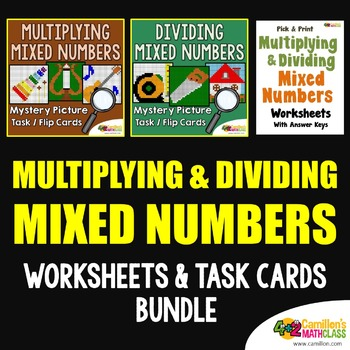 Multiplying And Dividing Mixed Numbers Worksheets Math Mystery Fraction Activity