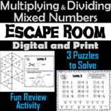 Multiplying and Dividing Mixed Numbers Activity: Escape Room Math Game