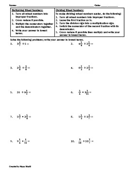Multiplying and Dividing Mixed Numbers Worksheet