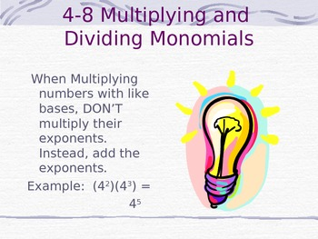 Multiplying and Dividing Monomial